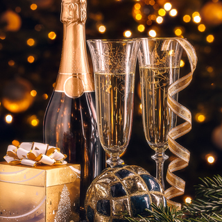 New Year composition. Bottle of champagne with decoration in front of Christmas tree