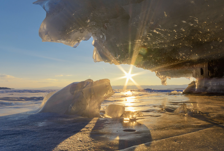 Winter sunrise on lake Baikal
