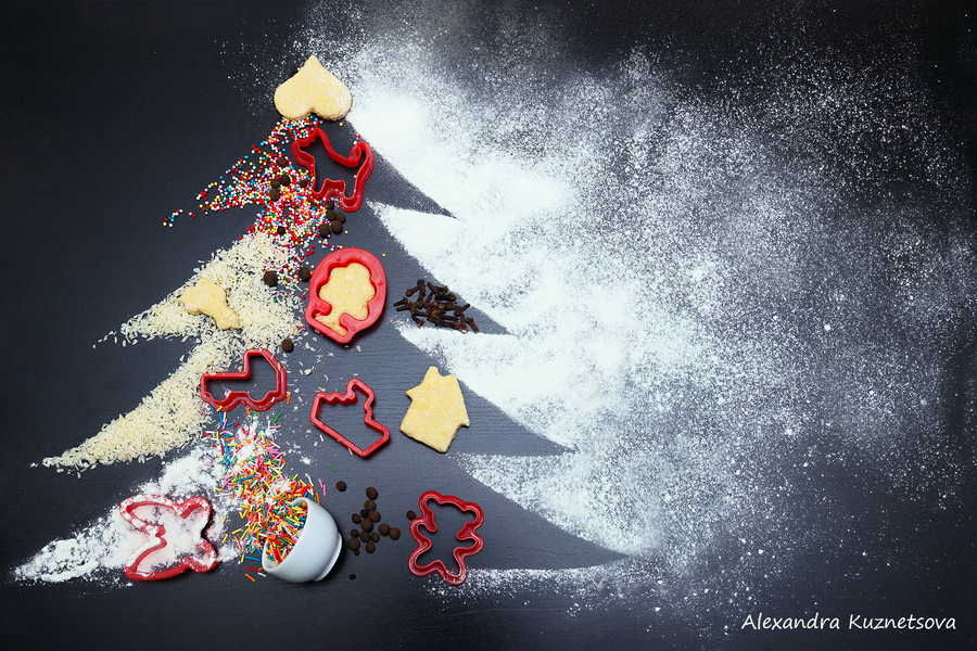 make ginger snaps cookies for christmas. The concept of festive cookies. Ingredients for homemade ginger cookies laid out in the form of a Christmas tree. The symbol of the new 2018