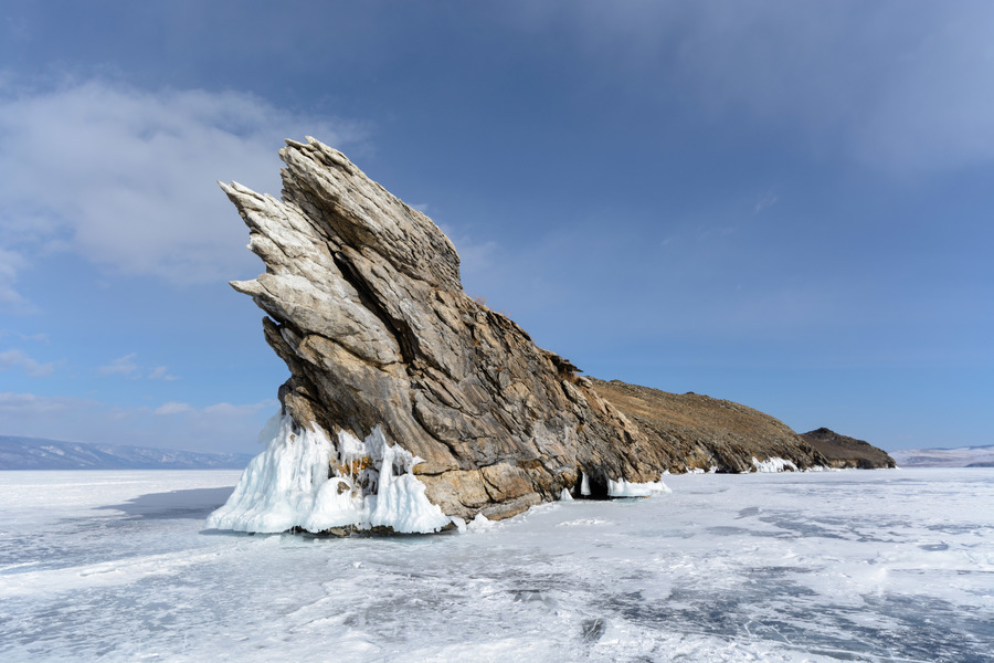 Landscape of winter lake Baikal. Island Ogoy.